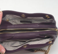 Michael Kors Jet Set Medium Messenger Shoulder Bag Chain Tote Damson Purple