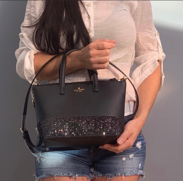 Kate Spade Greta Court Ina Glitter Small Top Zip Satchel Black Glitter