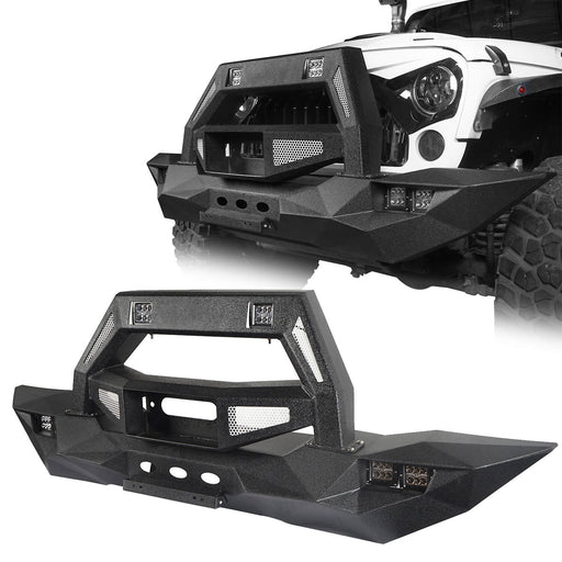 Hooke Road Opar DESTROYER Blade Full Width Front Bumper w/Bull Bar for 2007-2018 Jeep Wrangler JK u-Box 1