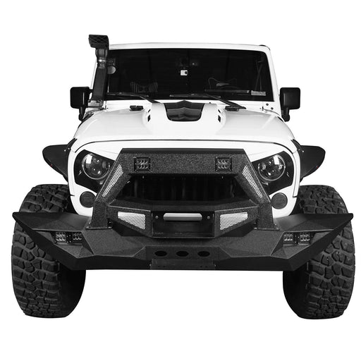 Hooke Road Opar DESTROYER Blade Full Width Front Bumper w/Bull Bar for 2007-2018 Jeep Wrangler JK u-Box 2