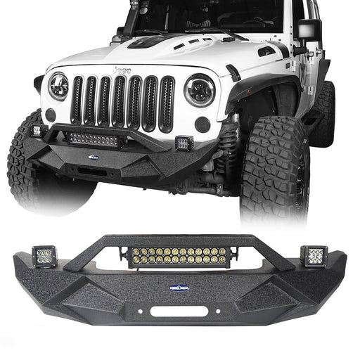 Blade Master Front Bumper w/Winch Plate & Light Bar for Jeep Wrangler (JK/JKU 2007-2018)
