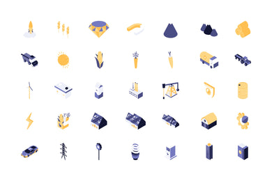 Energy, Agriculture and Industy 35 Isometric Icon - 29element