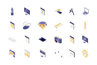 Graphic and Code 24 Isometric Icon - 29element