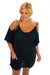 Black Open Shoulder Plus Size Tunic Beach Cover up