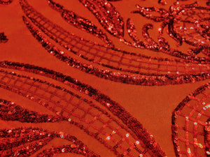 "Victorian Egg/Tulip, Red, Big Print, Sequin, 4-way Stretch, Fabric 55"" Sold By the Yard, Wedding, Prom, Dresses, Lingerie, Pageant"