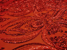"Load image into Gallery viewer, Victorian Egg/Tulip, Red, Big Print, Sequin, 4-way Stretch, Fabric 55"" Sold By the Yard, Wedding, Prom, Dresses, Lingerie, Pageant"