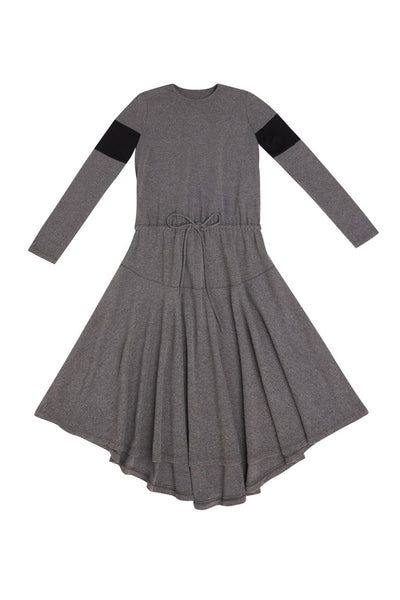 Grey Dress With Black Sleeve Inserts