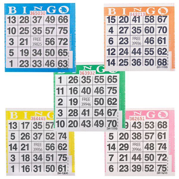 Bingo Paper Cards - 1 card - 5 sheets - 100 books - Jackpot Bingo Supplies