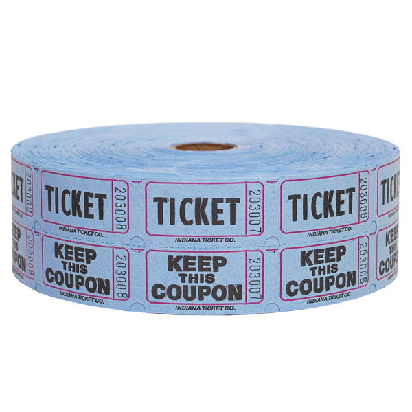 Raffle Tickets - Double Roll Blue - 50/50 Drawings - Jackpot Bingo Supplies