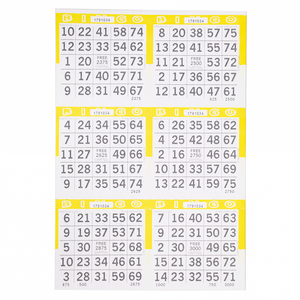 6 on Pushout Bingo Paper Cards - Yellow - 250 sheets - Jackpot Bingo Supplies