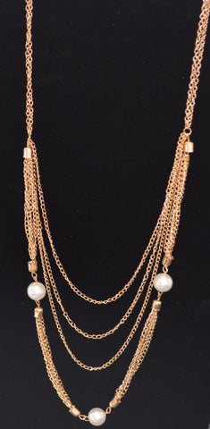 Pearl Trim Gold Necklace