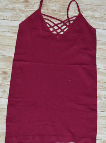 Wine Criss-Cross Cami