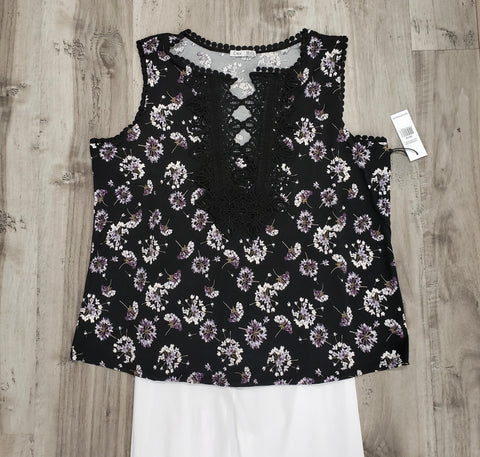 Lace Accent Sleeveless Top