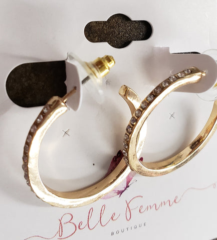 Gold Diamond Hoops
