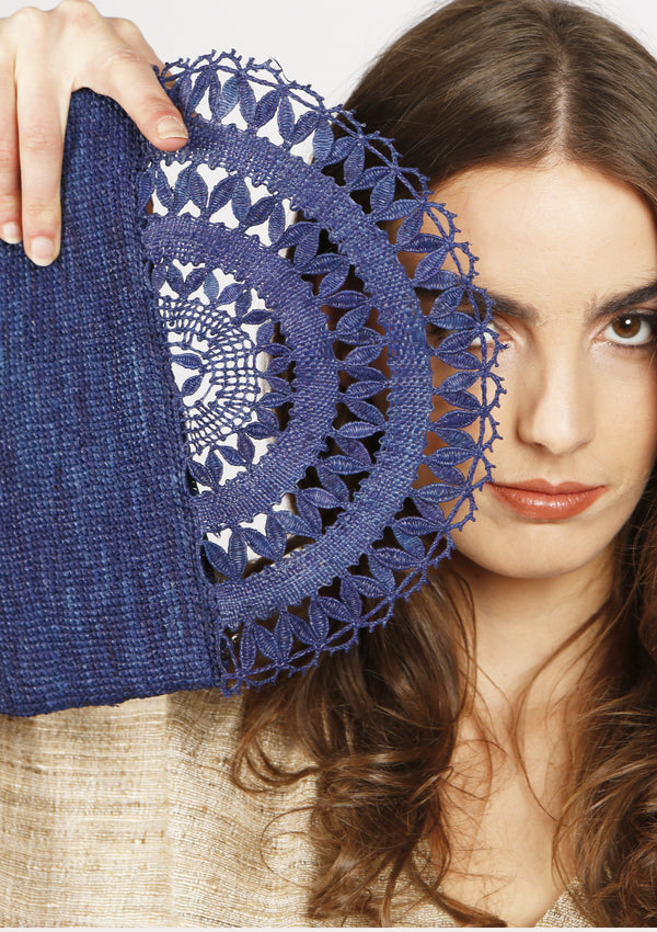 cheap designer blue raffia lace clutch beachwear