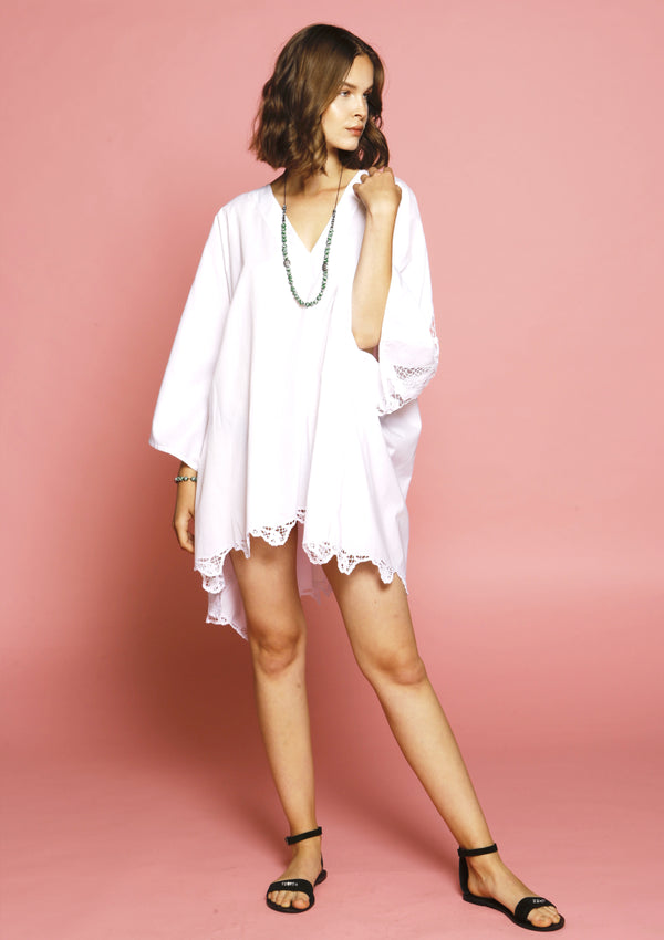 Luxury beach white cover-up cotton dress with handmade broderie anglaise