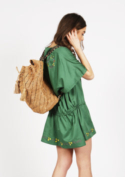 Handmade raffia backpack beach bag luxury Resortwear