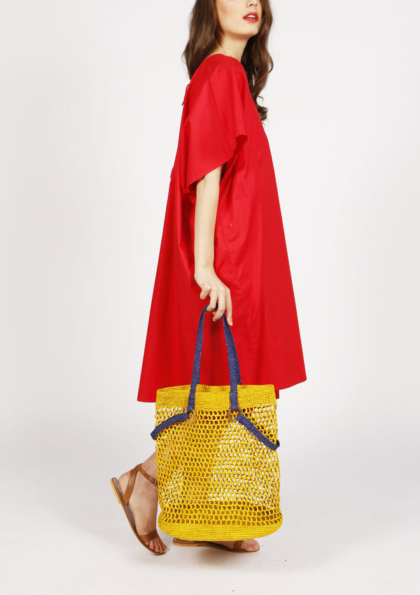Designer raffia yellow mesh beach tote bag luxury travel
