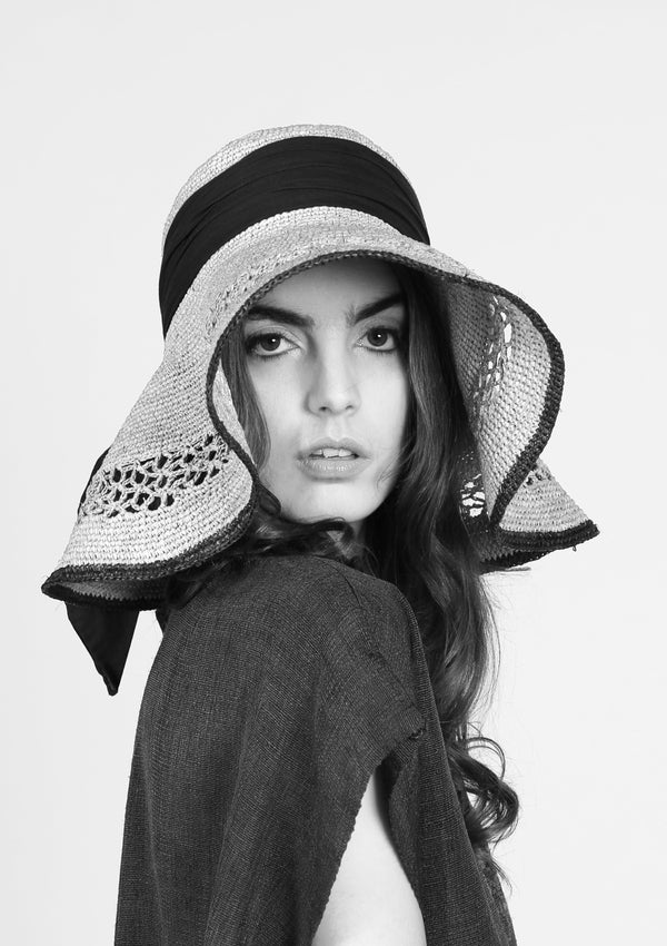 Retro raffia hat luxury resortwear