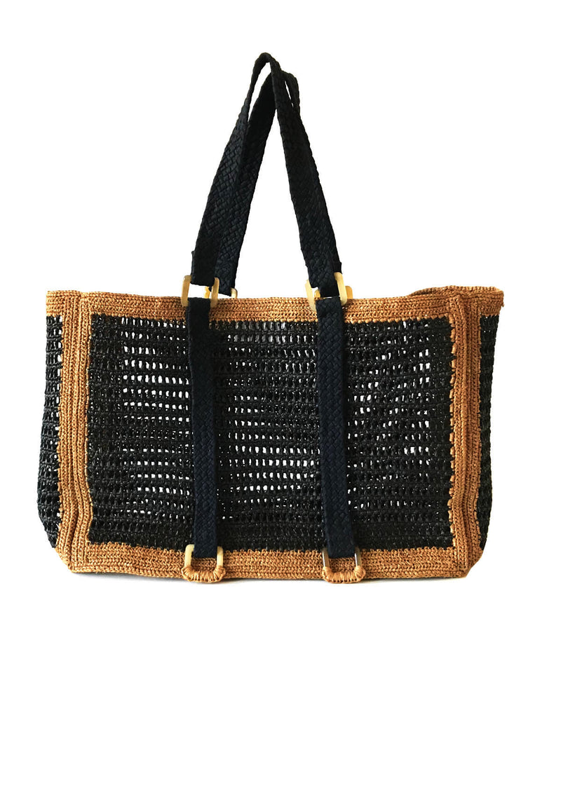 AGNES large beach bag- Plain Brown or Black and Brown
