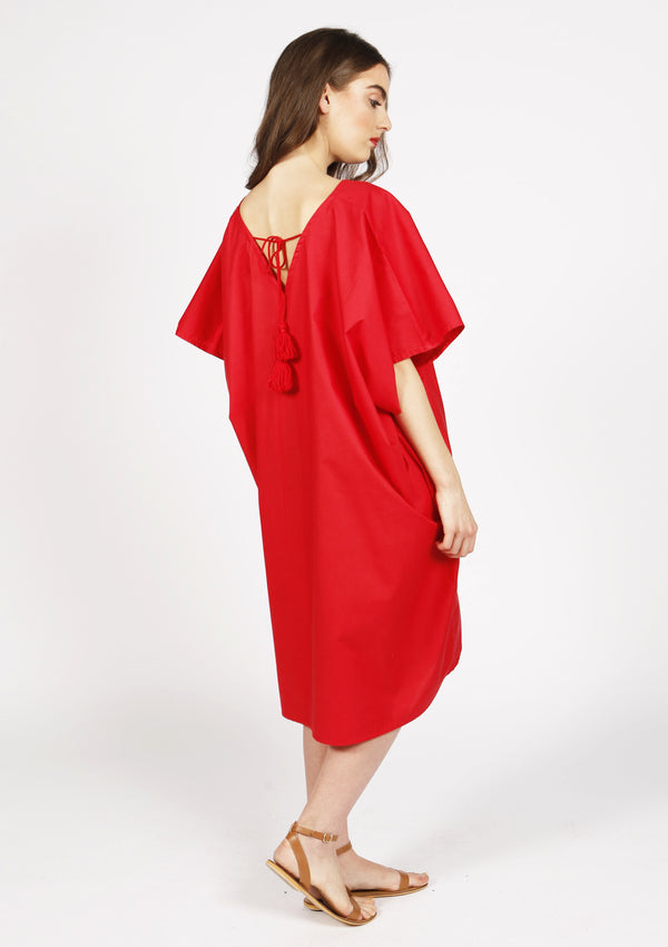 Affordable quality designer beach cover-up dress with pompoms