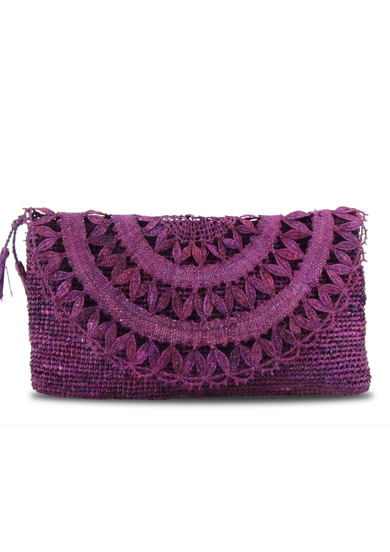 ELISE raffia evening Clutch bag - handmade lace- Natural or Purple