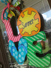 Load image into Gallery viewer, Summertime LOVE Sunshine Flip flops Summer Door Hanger