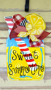Lemonade Mason Jar Door Hanger|Summer Wreath|Summer Wreath|Lemonade sign