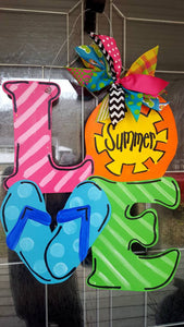 Summertime LOVE Sunshine Flip flops Summer Door Hanger