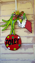 Load image into Gallery viewer, The Grouch Door Hanger, Christmas Door Hanger | ornament Hanger | Holiday Wreath | Green Hand | Christmas Wreath | Painted wreath