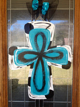 Load image into Gallery viewer, Wooden cross door hanger/Hand painted/Any occasion/Porch  Decor/Scripture Art/Personalized