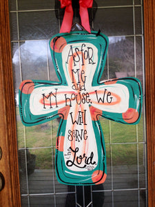 Wooden cross door hanger/Hand painted/Any occasion/Porch  Decor/Scripture Art/Personalized