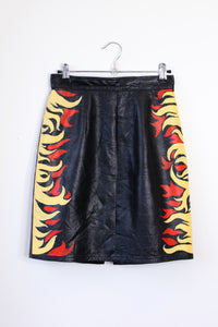 flames hand-painted midi skirt