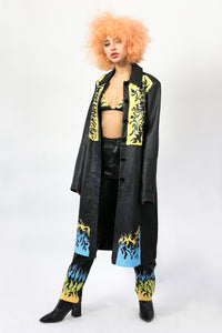 hand-painted long leather coat