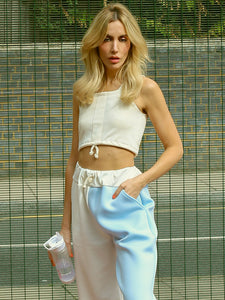 white drawstring crop top by TLO