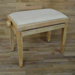 Natural wood and beige velvet piano stool