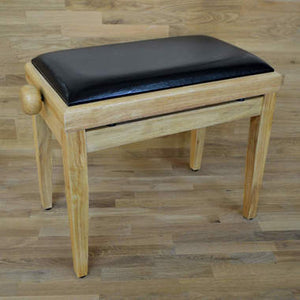 Natural wood and black leather piano stool