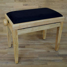 Load image into Gallery viewer, Natural wood and black velvet piano stool