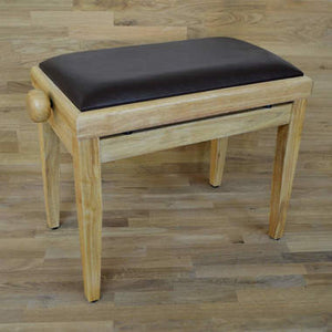 Natural wood and brown leather piano stool