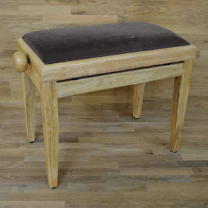 Natural wood and brown velvet piano stool