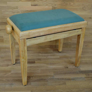 Natural wood and green velvet piano stool