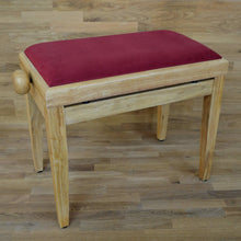 Load image into Gallery viewer, Natural wood and red wine velvet piano stool