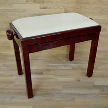 Load image into Gallery viewer, Polished mahogany and beige velvet piano stool