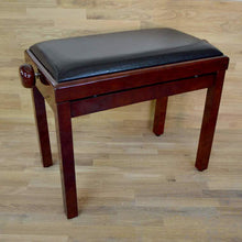 Load image into Gallery viewer, Polished mahogany and black leather piano stool