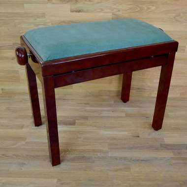 Polished mahogany and green velvet piano stool