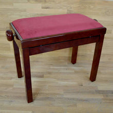 Load image into Gallery viewer, Polished mahogany and red wine velvet piano stool