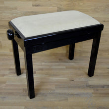 Load image into Gallery viewer, black polish beige velvet piano stool