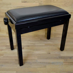 black polish black leather piano stool
