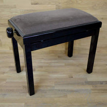 Load image into Gallery viewer, black polish brown velvet piano stool
