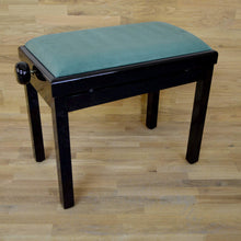 Load image into Gallery viewer, black polish green velvet piano stool